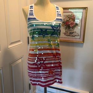 Sparkly Rainbow-colored Tunic Tank Top